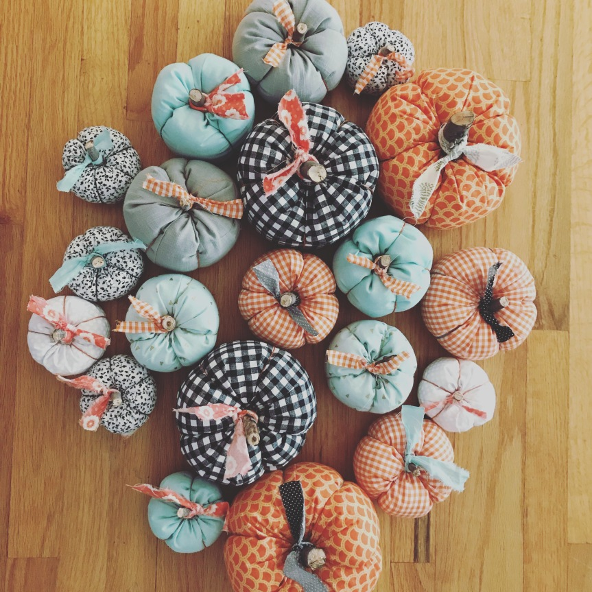 Easy Fabric Pumpkin Birds Eye View